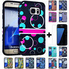 For Samsung Galaxy S7 EDGE HARD & SOFT RUBBER HYBRID CASE + SCREEN PROTECTOR