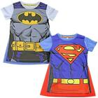 DC COMICS SUPERMAN BATMAN T SHIRT WITH CAPE CHILDRENS KIDS OFFICIAL SIZE 2-7 YRS