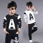 NEW SPRING BOYS SPORTSWEAR OVERPULL CASUAL 2 PIECES COAT+PANTS BLACK WHITE 4-11Y
