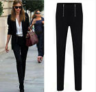 Fashion Women's Double Zipper Elastic Casual Skinny Pants Tapered Leg Trousers