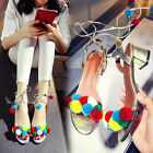 Roman Style POM POM Boho Shoes Womens Chunky Heels Ankle Lace Up Party Sandals