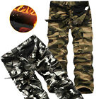 Hot Mens Pants Casual Fleece Warm Military Army Cargo Combat Camo Work Trousers