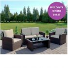 Rattan Wicker Weave Garden Furniture Brown Conservatory Sofa Set FREE COVER