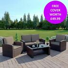 Rattan Wicker Weave Garden Furniture Brown Conservatory Sofa Set Armchairs Table