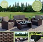 Rattan Garden Furniture Brown Conservatory Sofa Set Armchairs Table Free Cover