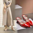 Elegant Pumps Party High Heels Pointed Toe Womens Rivet Crystal Sandals Slippers