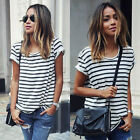 Fashion Women's Loose Summer Tops Stripe Short Sleeve T Shirt Casual Blouse Tee