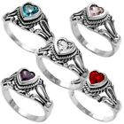 925 Sterling Silver Heart Cut 0.25 Ct CZ Baby Ring Size 1-5 (Choose Color)