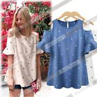 Women Fashion Off Shoulder Slim Loose Short Sleeve Star Printed Shirt Tops