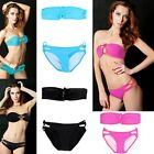2pcs Sexy Women's Pure Bikini Set Padded Bra Swimwear Underwire Swimsuit Bandeau