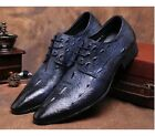 US Size 5-11 New Texture Leather Mens Dress Formal Oxfords Shoes & Free Cufflink