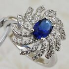 Size 6 7 9 10 Awesome Blue Sapphire White Spiral Jewelry Gold Filled Ring R2414