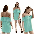 Womens Summer Candy Colorful Ruffle Frill Flared Skater Loose Swing Mini Dress