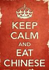 ACR24 Vintage Style Red Keep Calm Eat Chinese Food Funny Poster Print A2/A3/A4