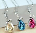 Women's Fashion Crystal Rhinestone Pendant Silver Chain Necklace Wedding Jewelry