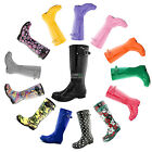 Women Cute Classic Knee Mid High Tall Slim Fit Rain Round Toe Design Rainboots