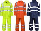 Hi Vis Rain Suit New Waterproof Jacket Trousers Set Mens Rain Coat Hi Visibility