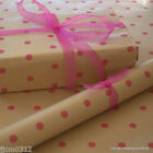 Pink Spots Patterned Kraft Brown Wrapping Paper 5 or 10 mtrs Vintage Style Wrap