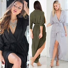Sexy Ladies Loose V Neck Chiffon Dress Long Sleeve Beach Party Maxi Shirt Dress
