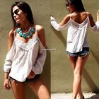 Women New Casual White Spaghetti Strap Off Shoulder Blouse Tops cool Gift N4U8