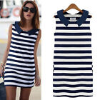 WB Women Denim Collar Sleeveless Casual Slim Striped Summer Mini Dress tbus