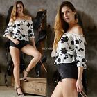 Ladies Sexy Off Shoulder Summer Shirt Strapless Casual Boho Crop Top Blouse S-XL