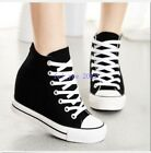 Classic Womens Canvas Lace Up Hidden Wedge Platform High-Top Sneakers Shoes Size