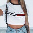New Women Sexy Printed Short Sleeve Crop Tops Yoga Casual Blouse Vest T-Shirt