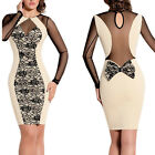 Sexy Women Ladies Long Sleeve Slim Bodycon Party Cocktail Evening Pencil Dress