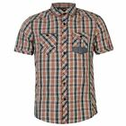 Lee Cooper Mens Yarn Dye Check Shirt Chest Pocket Short Sleeve Casual Top