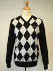 SALE! BEN SHERMAN 'BAKER' MOD FIT V-NECK DIAMOND KNIT JUMPER FA3013 (BLACK) k40
