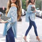 Sexy Women Off Shoulder Blouse Shirt Casual Split Long Sleeve Loose T-Shirt Tops