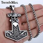 Thor's Hammer Pirate Captain Silver Stainless Steel Mens Pendant Necklace Chain