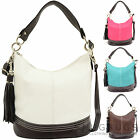 Ladies / Womens Faux Leather Handbag / Shoulder / Tote Bag with Tassel