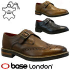 NEW MENS BASE LONDON REAL LEATHER CASUAL OFFICE SMART FORMAL BROGUE SHOES SIZE