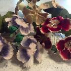 "Vintage Millinery 4"" Flower Gloxinia 3pc Choose Burgundy Red Violet or Ivory Z15"