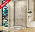 Frameless Pivot Shower Enclosure Glass Screen Door+Fixed Panel Side Panel Tray