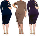 Women Plus Size Asymmetric Shoulder Long Sleeve Tassels Party Dress Size L-XXXL