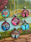 TREE OF LIFE ROUND PENDANT NECKLACE GLASS DOME CABOCHON CHARM FAMILY FOLK ART