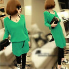 Women Ladies Loose Knitted V-Neck Sweater Sleeve Pullover Tops Knitwear S23