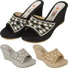 New Ladies Womens Glittery Wedge Heel Casual Party Diamante Beaded Sandals Shoes
