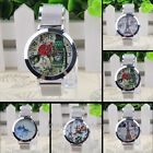 Vintage Womens Floral Butterfly Tower Mesh Stainless Steel Quartz Wrist Watches