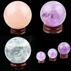 Natural Rose/Rock Quartz Amethyst Gemstone Ball Figurine Sphere With Wood Stand