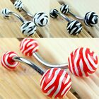Wholesale Red/Black/White Zebra Striped Animel Print Bars Barbells Navel Rings