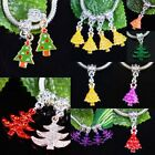 Enamel Christmas Trees Xmas Austrian Crystal Star Dangle Charm Beads Findings