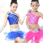 Girls Latin Jazz Dancing top+Pants  Kids Ballroom Dance wear Costume Outfits