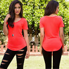 Sexy Womens Short Sleeve V Neck Vest Lady Summer Casual T-Shirt Beach Top Blouse