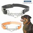 Ancol Heritage Leather and Chain Half Check Dog Collar 45 - 60 cm Size 7