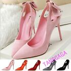Sweet Ladies Faux Suede High Heels Pointy Toes Pumps Bowknot Stiletto Prom Shoes