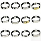 New Men's Black Punk Rubber Stainless Steel Wristband Clasp Cuff Bangle Bracelet